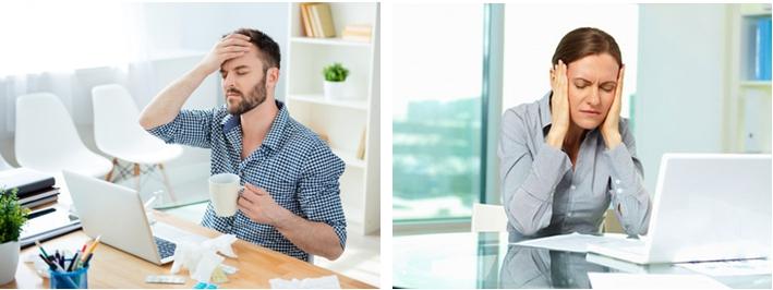 Стрессы, работа за компьютером - частые причины головных болей и мигреней